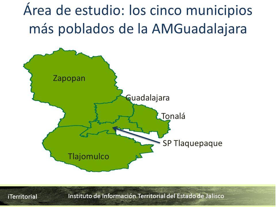 Instituto de Información Territorial del Estado de Jalisco iTerritorial Área de estudio: los cinco municipios más poblados de la AMGuadalajara Zapopan