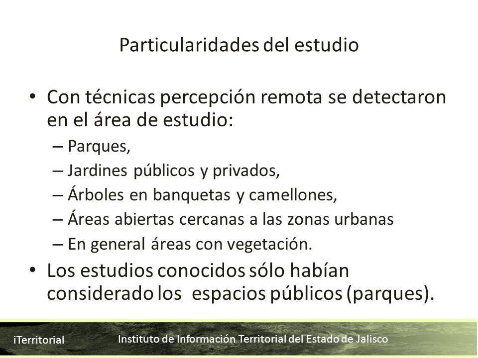 Instituto de Información Territorial del Estado de Jalisco iTerritorial Particularidades del estudio Con técnicas percepción remota se detectaron en e