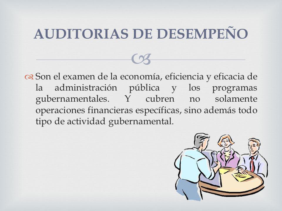 Son el examen de la economía, eficiencia y eficacia de la administración pública y los programas gubernamentales. Y cubren no solamente operaciones fi