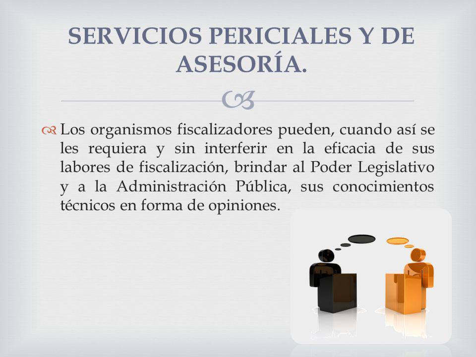 Los organismos fiscalizadores pueden, cuando así se les requiera y sin interferir en la eficacia de sus labores de fiscalización, brindar al Poder Leg