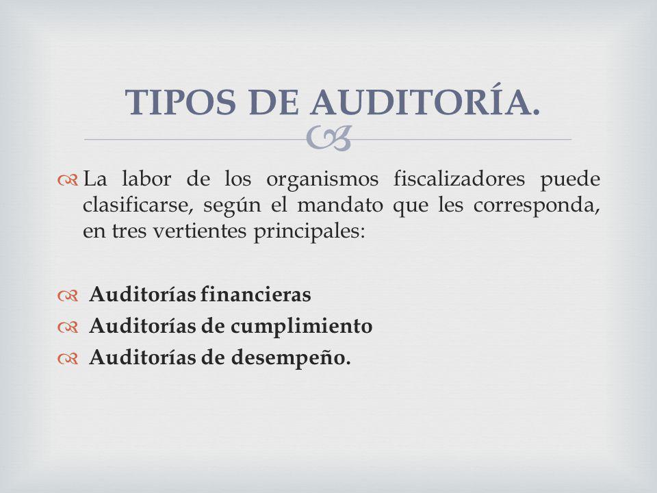La labor de los organismos fiscalizadores puede clasificarse, según el mandato que les corresponda, en tres vertientes principales: Auditorías financi