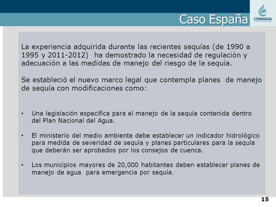 Caso España La experiencia adquirida durante las recientes sequías (de 1990 a 1995 y 2011-2012) ha demostrado la necesidad de regulación y adecuación