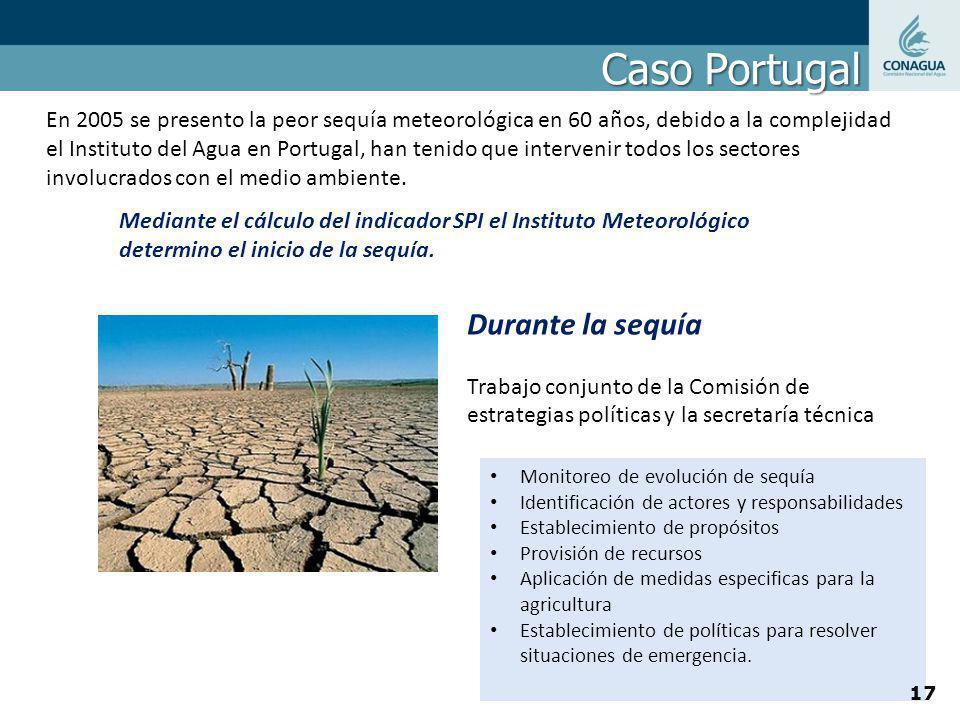 Caso Portugal En 2005 se presento la peor sequía meteorológica en 60 años, debido a la complejidad el Instituto del Agua en Portugal, han tenido que i
