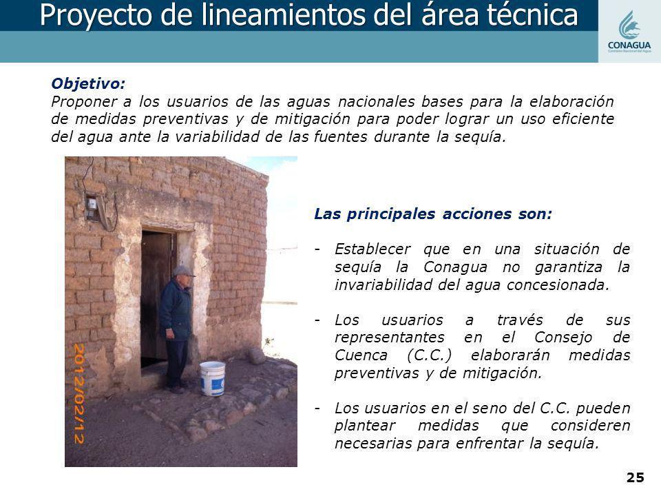 Objetivo: Proponer a los usuarios de las aguas nacionales bases para la elaboración de medidas preventivas y de mitigación para poder lograr un uso ef