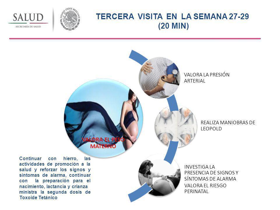 SEGUNDA VISITA,EN LA SEMANA 22-24 (20 MIN) 11 a 12 kilos de 1 a 1.5 kg por mes Presión arterial Sistólica 30mm/Hg o más y la Diastólica de 15 mm/Hg o más (preeclampsia )) Mide la altura del fondo uterino.