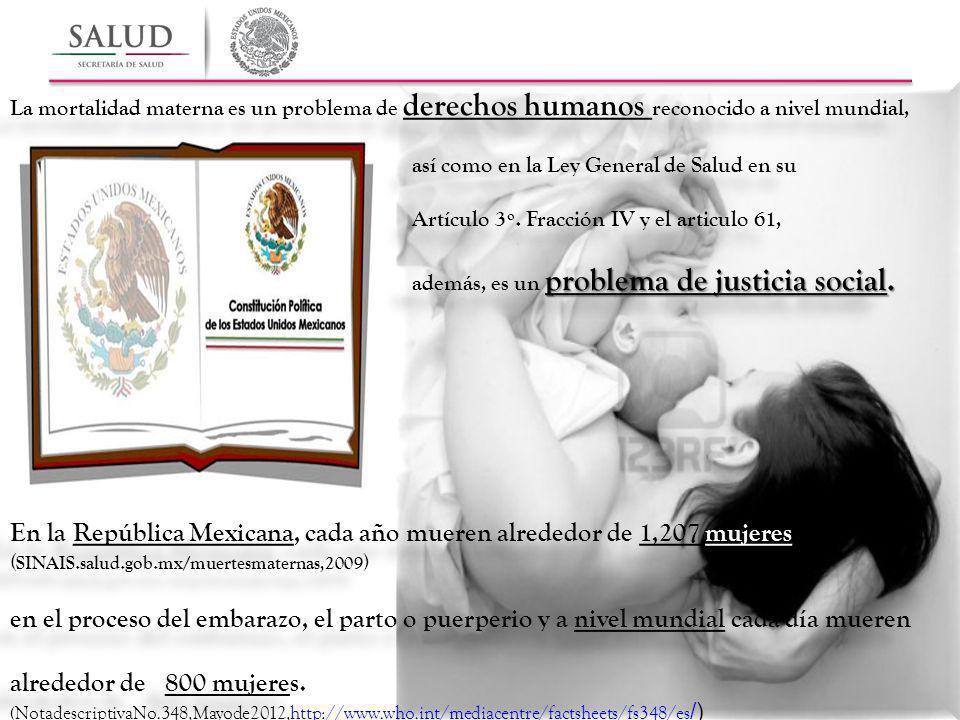 La mortalidad materna es un problema de derechos humanos reconocido a nivel mundial, así como en la Ley General de Salud en su Artículo 3º.