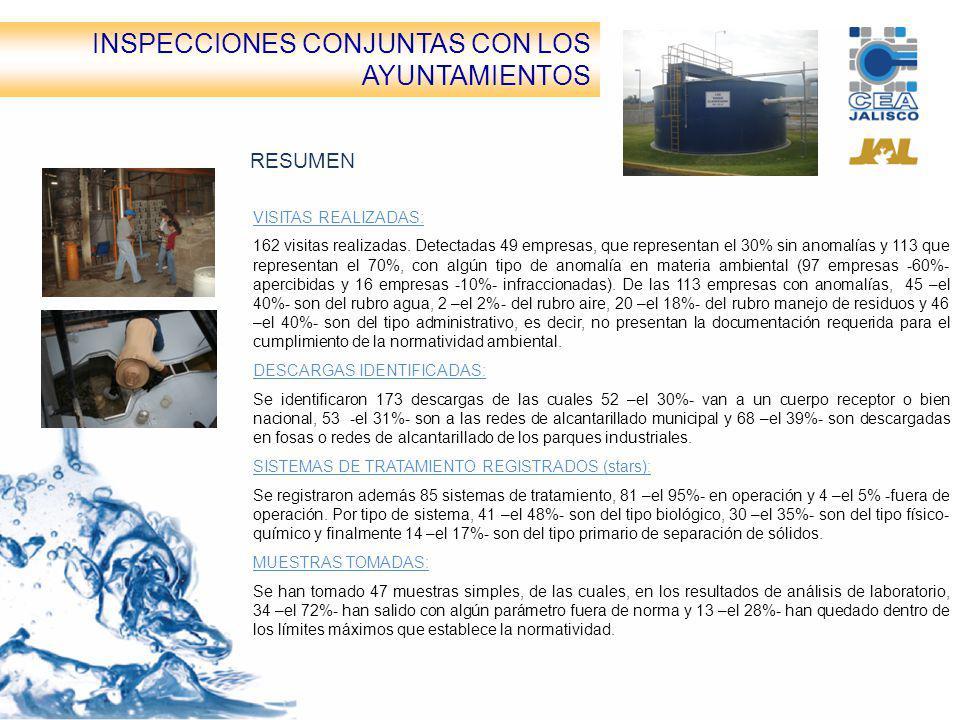 Inspecciones conjuntas CEA-Ayuntamientos RESUMEN VISITAS REALIZADAS: 162 visitas realizadas. Detectadas 49 empresas, que representan el 30% sin anomal