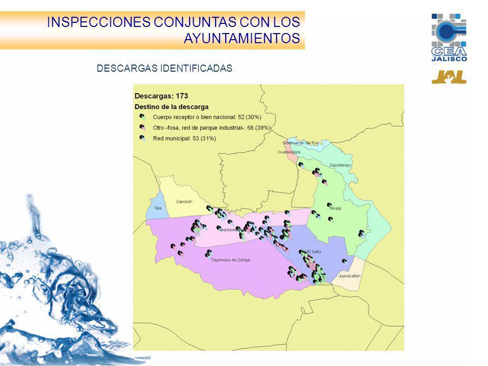 Inspecciones conjuntas CEA-Ayuntamientos DESCARGAS IDENTIFICADAS INSPECCIONES CONJUNTAS CON LOS AYUNTAMIENTOS