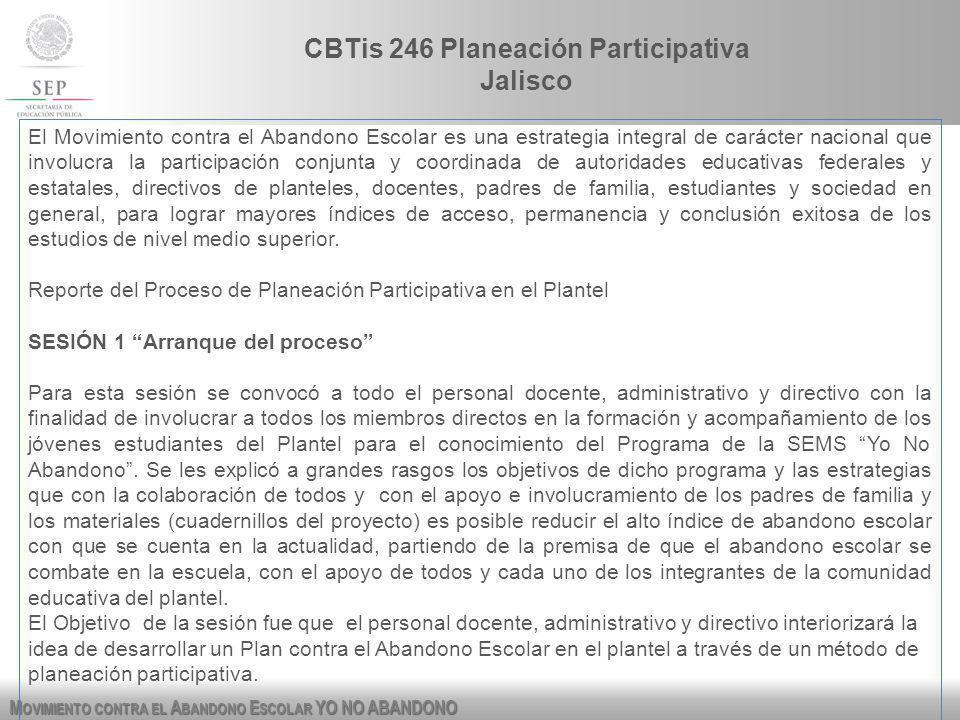 M OVIMIENTO CONTRA EL A BANDONO E SCOLAR YO NO ABANDONO CBTis 246 Planeación Participativa Jalisco El Movimiento contra el Abandono Escolar es una est