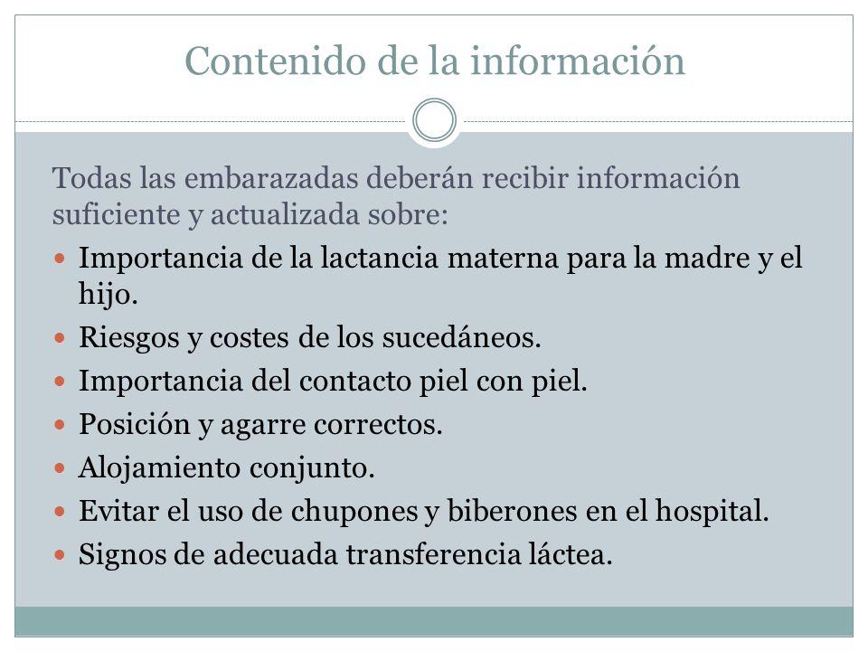 Contenido de la información Todas las embarazadas deberán recibir información suficiente y actualizada sobre: Importancia de la lactancia materna para la madre y el hijo.