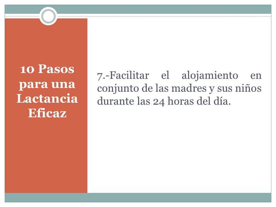 10 Pasos para una Lactancia Eficaz 7.-Facilitar el alojamiento en conjunto de las madres y sus niños durante las 24 horas del día.