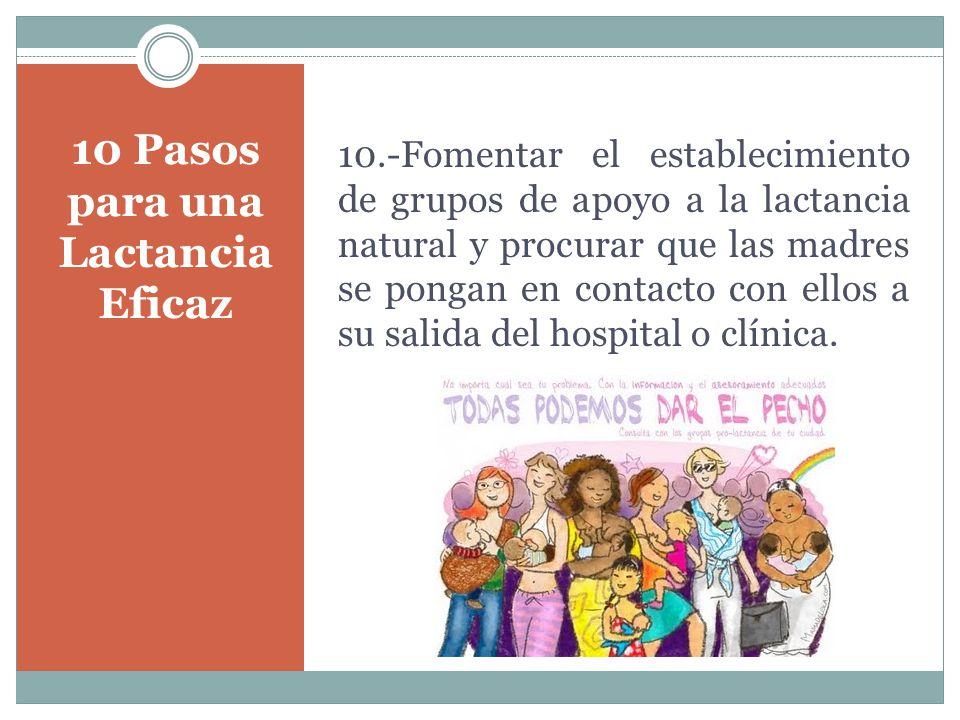 10 Pasos para una Lactancia Eficaz 10.-Fomentar el establecimiento de grupos de apoyo a la lactancia natural y procurar que las madres se pongan en contacto con ellos a su salida del hospital o clínica.