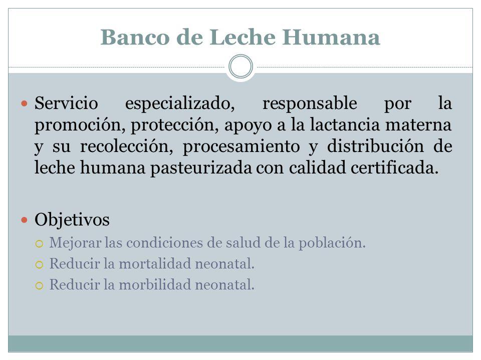 Banco de Leche Humana Servicio especializado, responsable por la promoción, protección, apoyo a la lactancia materna y su recolección, procesamiento y distribución de leche humana pasteurizada con calidad certificada.