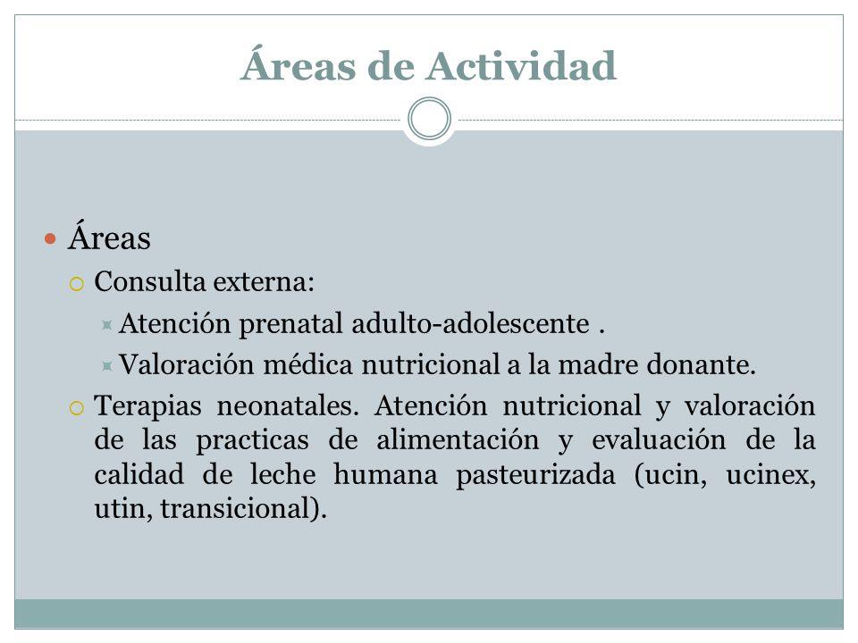 Áreas de Actividad Áreas Consulta externa: Atención prenatal adulto-adolescente.