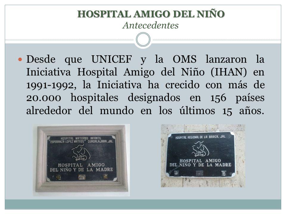Desde que UNICEF y la OMS lanzaron la Iniciativa Hospital Amigo del Niño (IHAN) en 1991-1992, la Iniciativa ha crecido con más de 20.000 hospitales designados en 156 países alrededor del mundo en los últimos 15 años.
