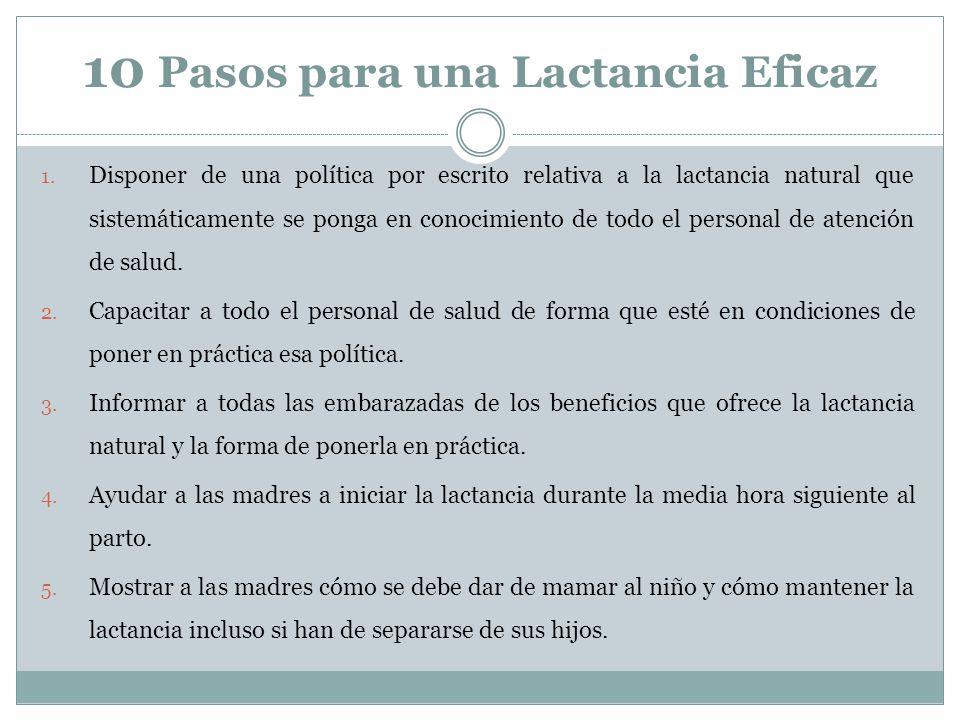 10 Pasos para una Lactancia Eficaz 1. Disponer de una política por escrito relativa a la lactancia natural que sistemáticamente se ponga en conocimien