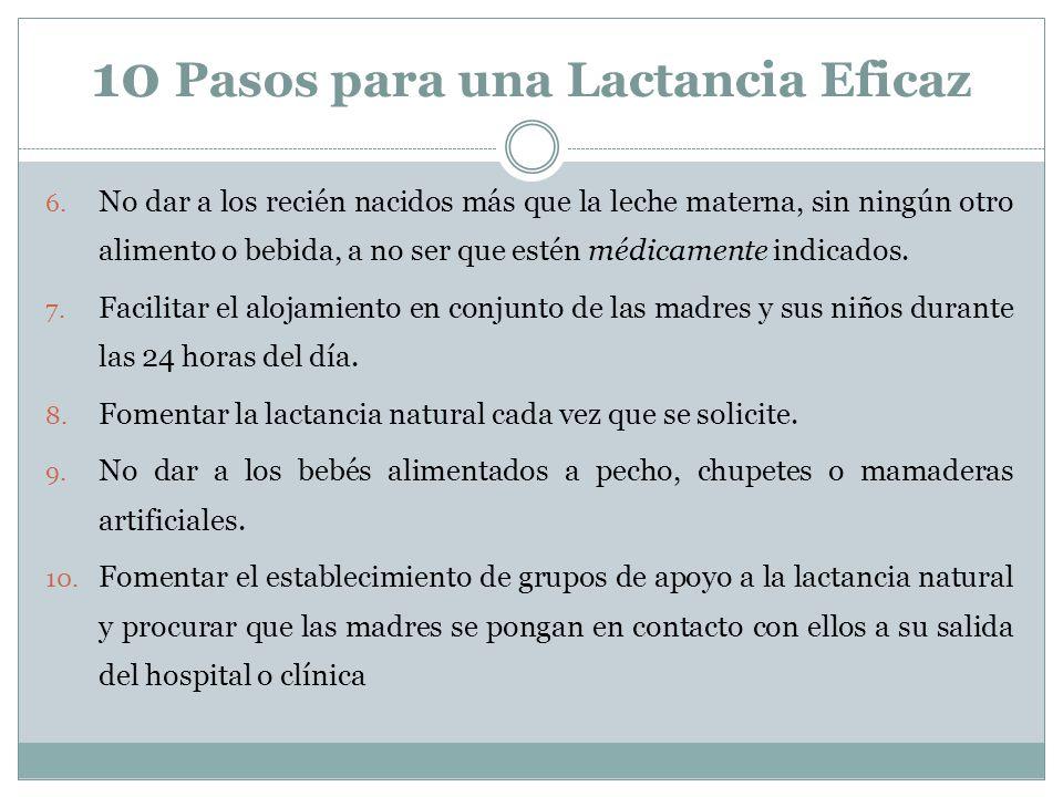 10 Pasos para una Lactancia Eficaz 6. No dar a los recién nacidos más que la leche materna, sin ningún otro alimento o bebida, a no ser que estén médi