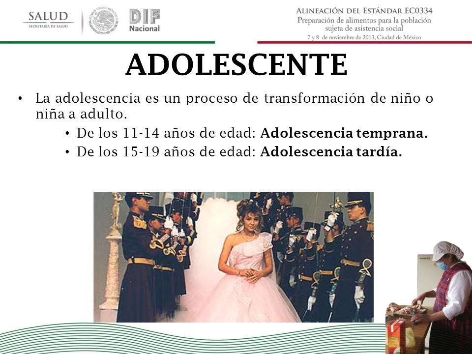 ADOLESCENTE La adolescencia es un proceso de transformación de niño o niña a adulto. De los 11-14 años de edad: Adolescencia temprana. De los 15-19 añ