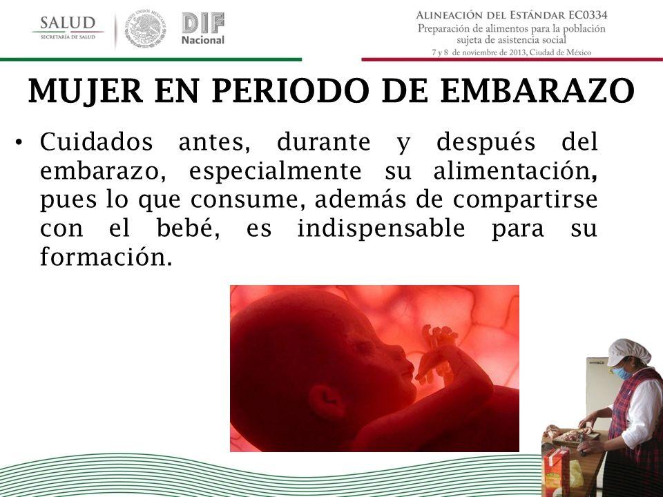 MUJER EN PERIODO DE EMBARAZO Cuidados antes, durante y después del embarazo, especialmente su alimentación, pues lo que consume, además de compartirse