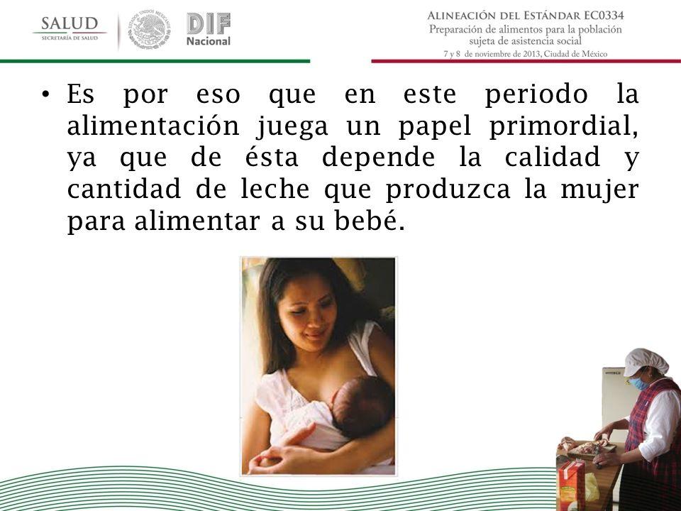 Es por eso que en este periodo la alimentación juega un papel primordial, ya que de ésta depende la calidad y cantidad de leche que produzca la mujer