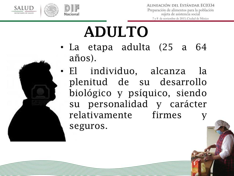 ADULTO La etapa adulta (25 a 64 años). El individuo, alcanza la plenitud de su desarrollo biológico y psíquico, siendo su personalidad y carácter rela