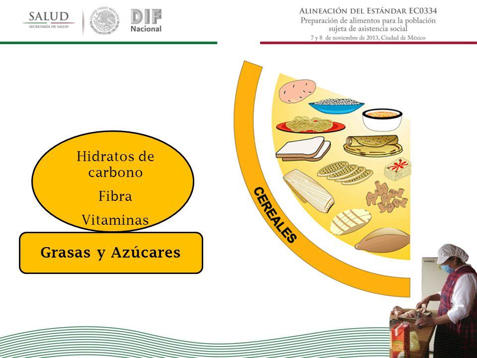 Hidratos de carbono Fibra Vitaminas Grasas y Azúcares