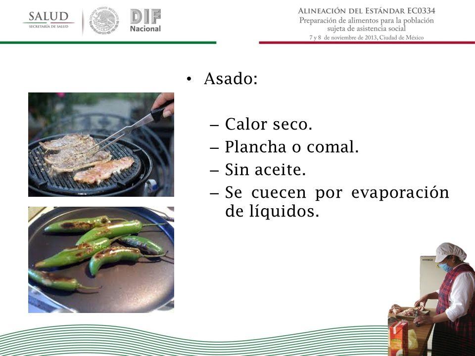 Asado: – Calor seco. – Plancha o comal. – Sin aceite. – Se cuecen por evaporación de líquidos.