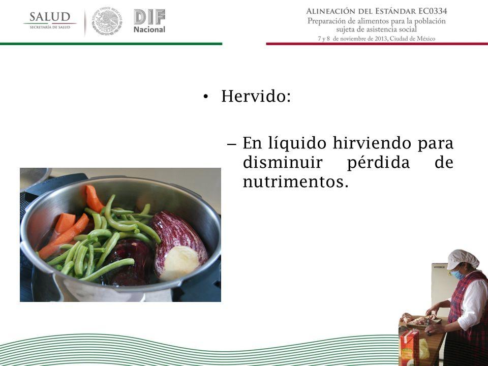 Hervido: – En líquido hirviendo para disminuir pérdida de nutrimentos.