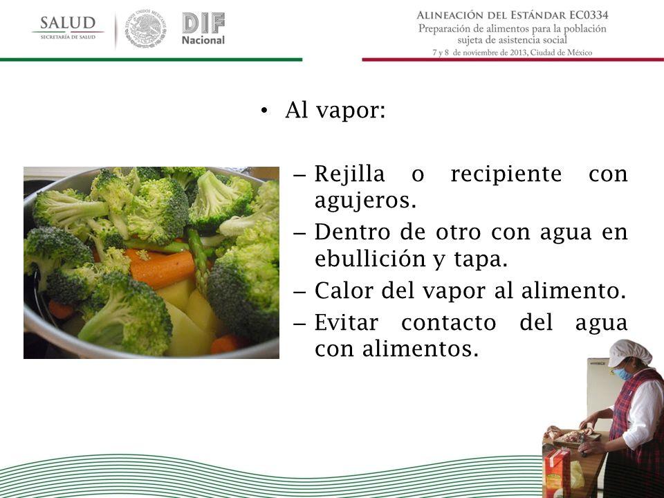 Al vapor: – Rejilla o recipiente con agujeros. – Dentro de otro con agua en ebullición y tapa. – Calor del vapor al alimento. – Evitar contacto del ag