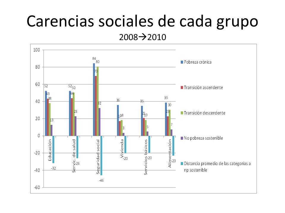 Carencias sociales de cada grupo 2008 2010