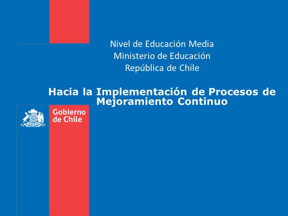 Gobierno de Chile | Ministerio de Educación Nivel de Educación Media Ministerio de Educación República de Chile Hacia la Implementación de Procesos de