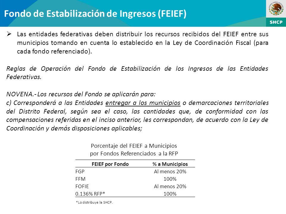 Fondo de Estabilización de Ingresos (FEIEF) Las entidades federativas deben distribuir los recursos recibidos del FEIEF entre sus municipios tomando en cuenta lo establecido en la Ley de Coordinación Fiscal (para cada fondo referenciado).
