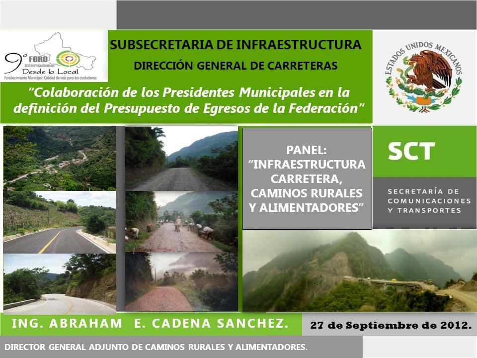 Colaboración de los Presidentes Municipales en la definición del Presupuesto de Egresos de la Federación 27 de Septiembre de 2012. DIRECTOR GENERAL AD