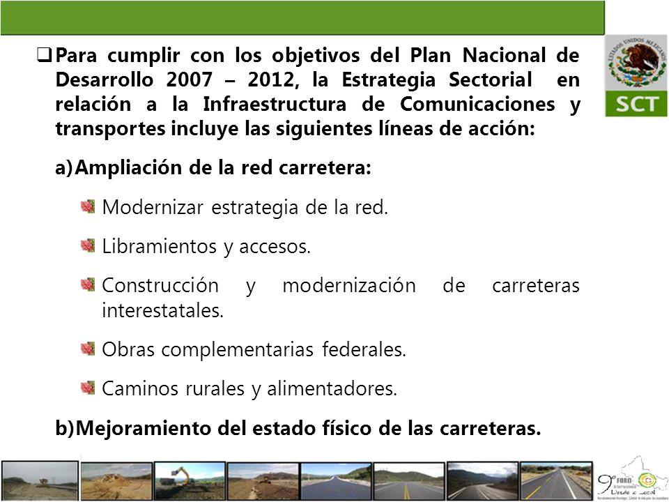 Para cumplir con los objetivos del Plan Nacional de Desarrollo 2007 – 2012, la Estrategia Sectorial en relación a la Infraestructura de Comunicaciones