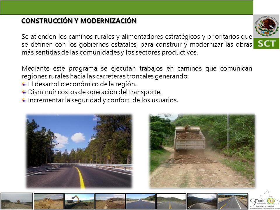 Se atienden los caminos rurales y alimentadores estratégicos y prioritarios que se definen con los gobiernos estatales, para construir y modernizar la