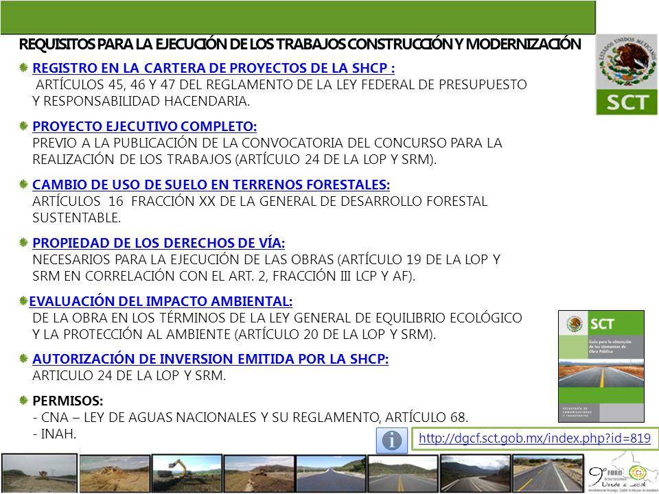 REQUISITOS PARA LA EJECUCIÓN DE LOS TRABAJOS CONSTRUCCIÓN Y MODERNIZACIÓN http://dgcf.sct.gob.mx/index.php?id=819 REGISTRO EN LA CARTERA DE PROYECTOS