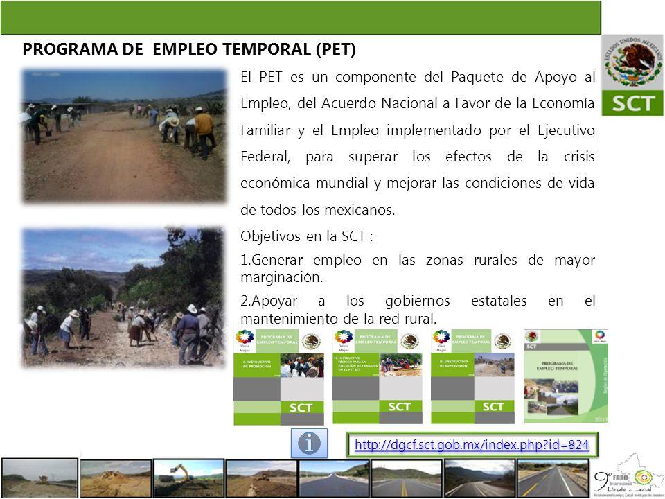 PROGRAMA DE EMPLEO TEMPORAL (PET) El PET es un componente del Paquete de Apoyo al Empleo, del Acuerdo Nacional a Favor de la Economía Familiar y el Em