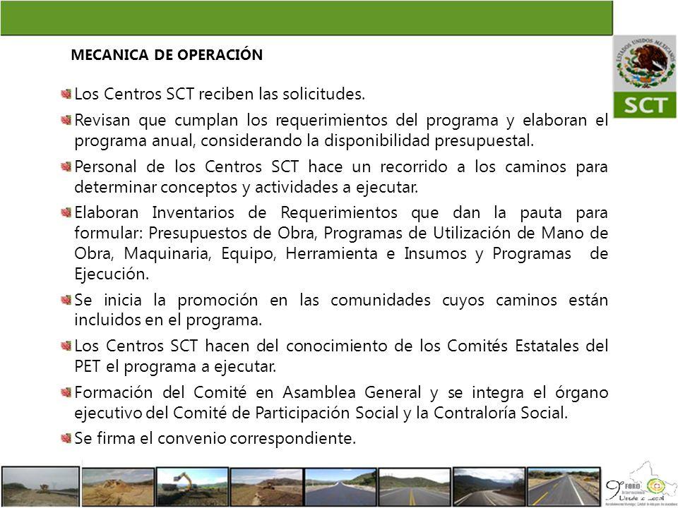 Los Centros SCT reciben las solicitudes. Revisan que cumplan los requerimientos del programa y elaboran el programa anual, considerando la disponibili