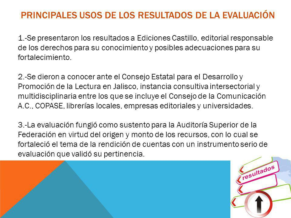 1.-Se presentaron los resultados a Ediciones Castillo, editorial responsable de los derechos para su conocimiento y posibles adecuaciones para su fort