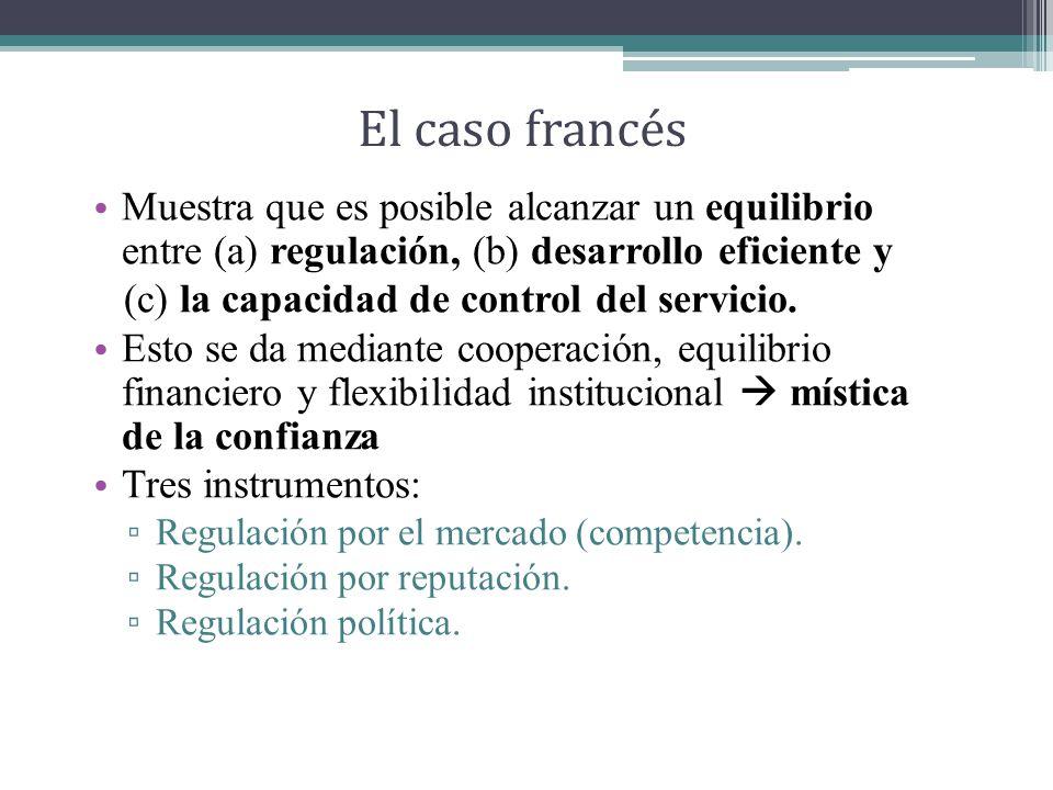El caso francés Muestra que es posible alcanzar un equilibrio entre (a) regulación, (b) desarrollo eficiente y (c) la capacidad de control del servicio.