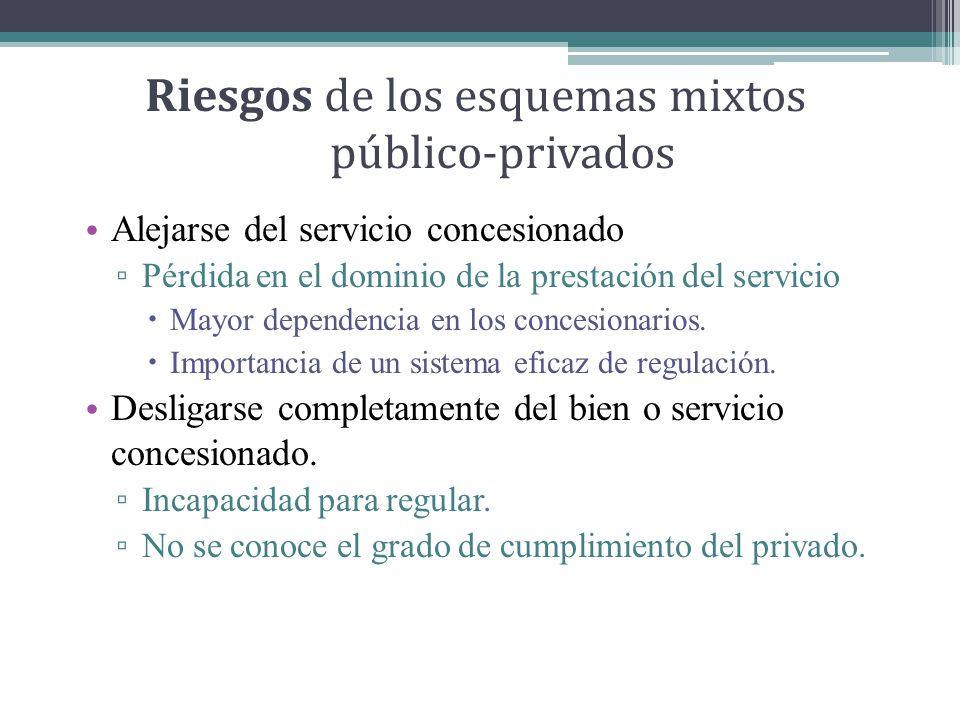 Riesgos de los esquemas mixtos público-privados Alejarse del servicio concesionado Pérdida en el dominio de la prestación del servicio Mayor dependencia en los concesionarios.