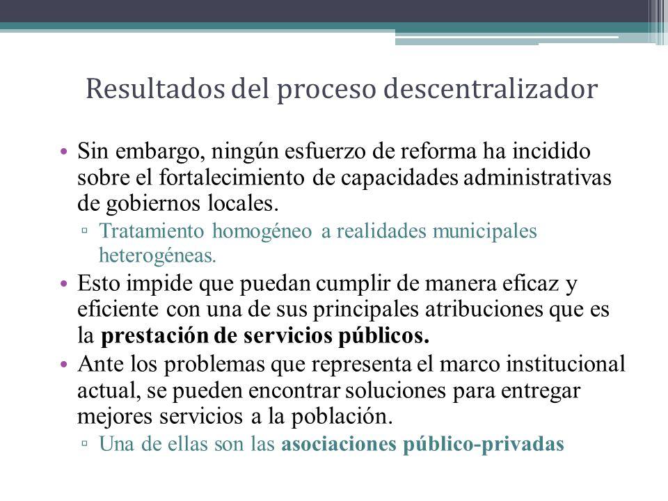 Resultados del proceso descentralizador Sin embargo, ningún esfuerzo de reforma ha incidido sobre el fortalecimiento de capacidades administrativas de gobiernos locales.