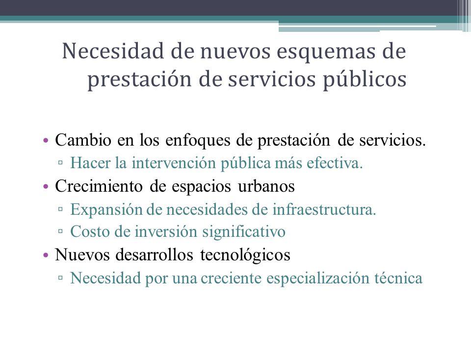 Necesidad de nuevos esquemas de prestación de servicios públicos Cambio en los enfoques de prestación de servicios.