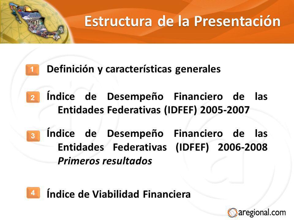 Estructura de la Presentación Definición y características generales Índice de Desempeño Financiero de las Entidades Federativas (IDFEF) 2005-2007 Índ