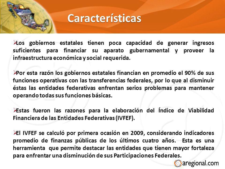 Características Los gobiernos estatales tienen poca capacidad de generar ingresos suficientes para financiar su aparato gubernamental y proveer la inf