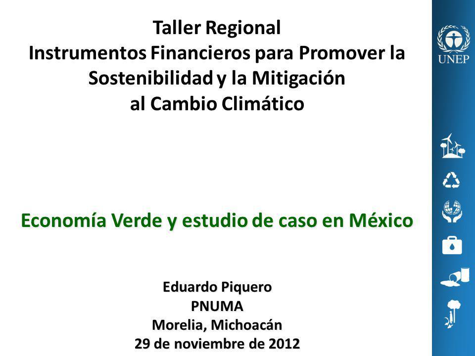 Taller Regional Instrumentos Financieros para Promover la Sostenibilidad y la Mitigación al Cambio Climático Economía Verde y estudio de caso en Méxic