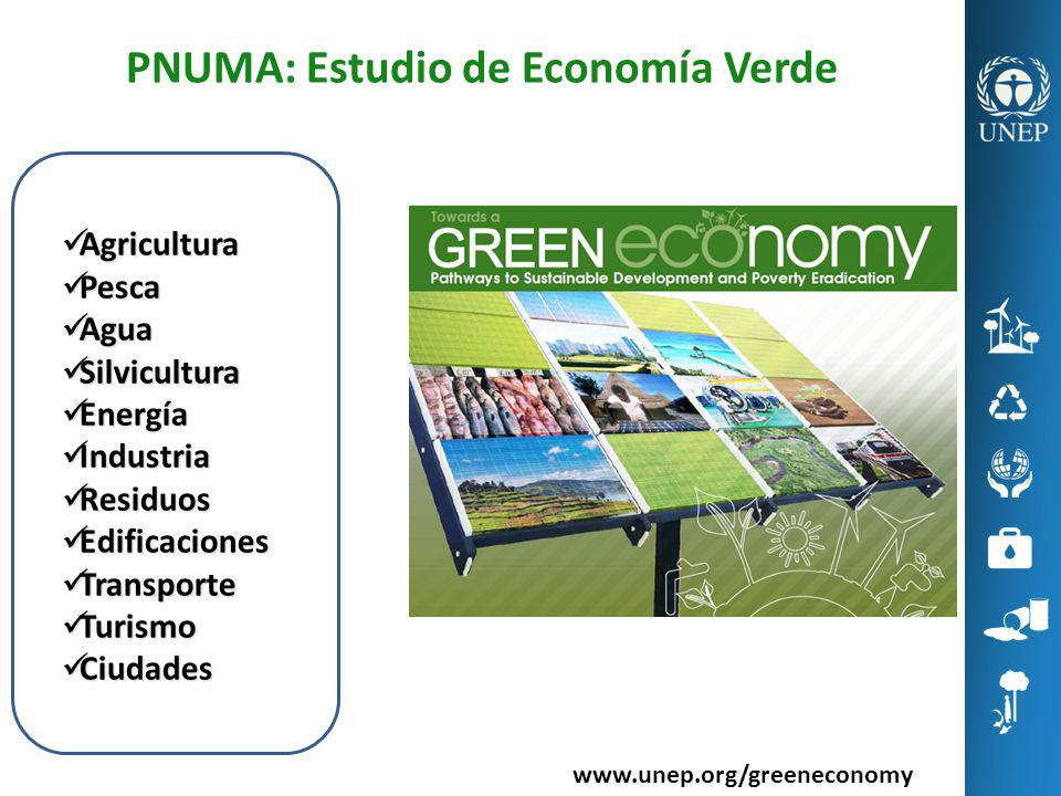 www.unep.org/greeneconomy Agricultura Agricultura Pesca Pesca Agua Agua Silvicultura Silvicultura Energía Energía Industria Industria Residuos Residuo