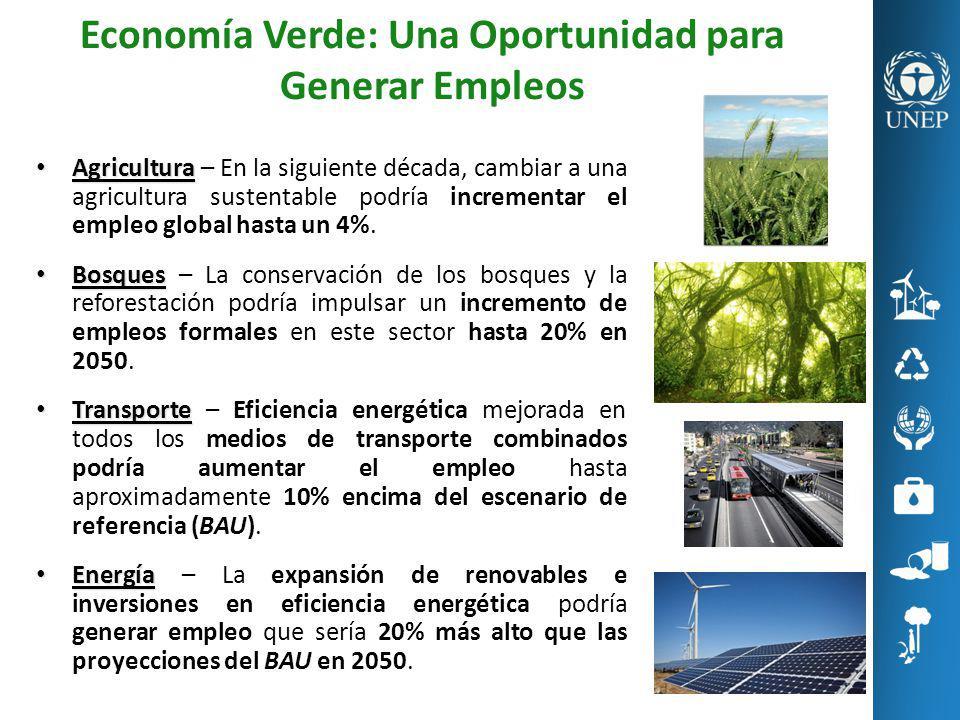Economía Verde: Una Oportunidad para Generar Empleos Agricultura Agricultura – En la siguiente década, cambiar a una agricultura sustentable podría in