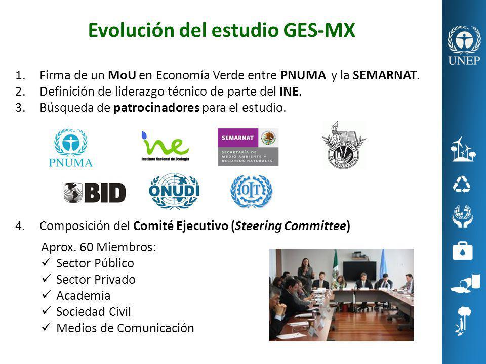 Evolución del estudio GES-MX 1.Firma de un MoU en Economía Verde entre PNUMA y la SEMARNAT. 2.Definición de liderazgo técnico de parte del INE. 3.Búsq