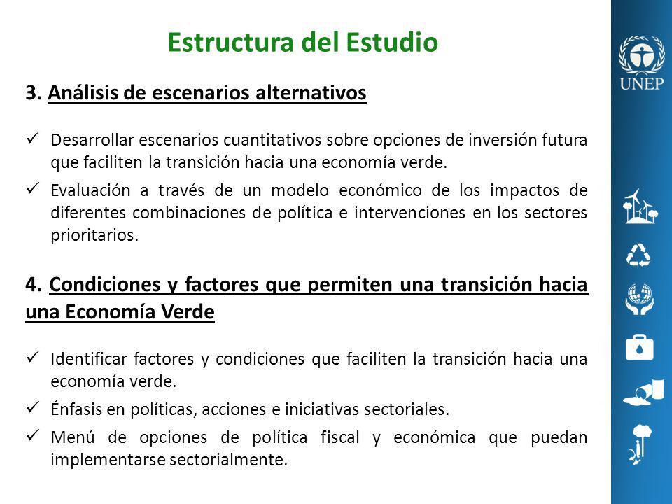 Estructura del Estudio 3. Análisis de escenarios alternativos Desarrollar escenarios cuantitativos sobre opciones de inversión futura que faciliten la